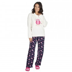 Forever Dreaming Ladies Owl Fleece Pyjamas - Cream