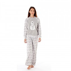 Ladies Polar Bear Motif/Fairisle Fleece Pyjama Set - Grey