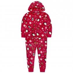 Onezee Kids Christmas Fleece Onesie - Red