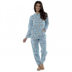 Foxbury Ladies Hooded Fleece Polar Bear Pyjama Set - Blue