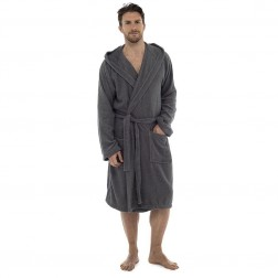 Tom Franks Cotton Hooded Towelling Robe - Grey