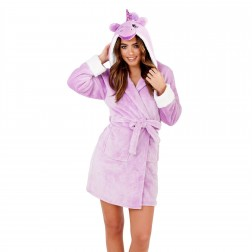 Loungeable Boutique Unicorn Hooded Robe - Purple