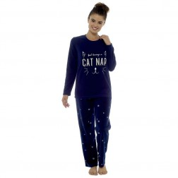 Follow That Dream Ladies Fleece 'Cat Nap' Pyjamas - Navy