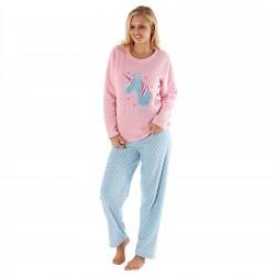 Selena Secrets Ladies Unicorn Dreams Pyjama Set - Pink/Blue