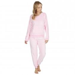 Forever Dreaming Ladies Embossed Heart Fleece Pyjama Set - Pink
