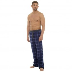 Foxbury Mens Flannel Check Lounge Pants - Blue