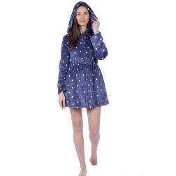 Masq Star Print Zip Up Hooded Robe - Navy