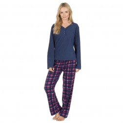 Forever Dreaming Fleece Check Pyjama Set - Navy