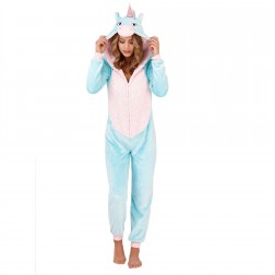 Loungeable Boutique Unicorn Onesie - Aqua/Pink