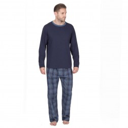 Cargo Bay Mens Jersey/Woven Pyjamas - Navy