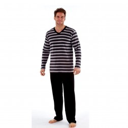 Harvey James Mens Fleece Pyjamas - Black/Grey