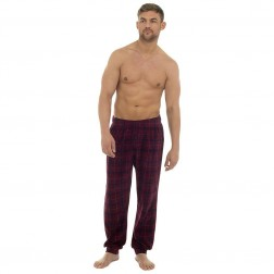 Tom Franks Mens Fleece Check Lounge Pants - Red