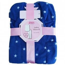 Selena Secrets Ladies Star Print Button Front Fleece Pyjamas - Navy