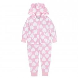 Onezee Heart Fleece Onesie - Pink