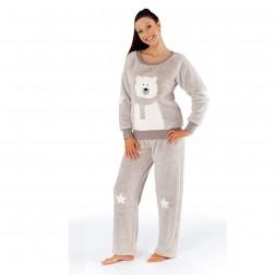 Selena Secrets Polar Bear Fleece Twosie Pyjamas - Grey