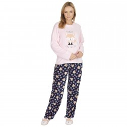 Forever Dreaming Ladies Fox Fleece Pyjamas - Pink