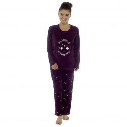 Follow That Dream Ladies Fleece 'Cold Outside' Pyjamas - Burgundy