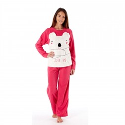 Selena Secrets Ladies Love Me Bear Fleece Pyjama Set - Pink