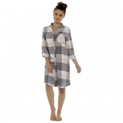 Ladies Brushed Cotton Check Night Shirt - Grey/Pink