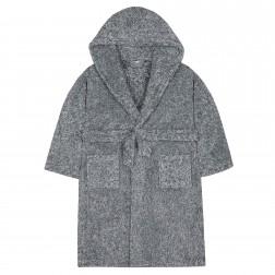 Kids Two Tone Fleece Robe - Charcoal