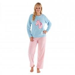 Selena Secrets Ladies Unicorn Dreams Pyjama Set - Blue/Pink