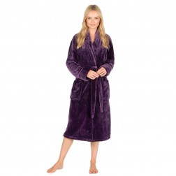 Forever Dreaming Shawl Collar Fleece Robe - Purple