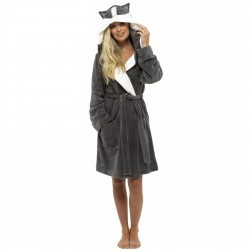 Loungeable Boutique Raccoon Hooded Robe - Grey