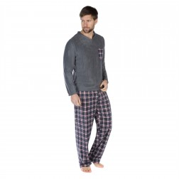 Harvey James Mens Reverse Check Fleece Pyjama Set - Grey