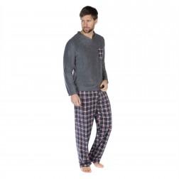 Harvey James Mens Reverse Check Fleece Pyjama Set - Grey