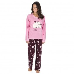 Forever Dreaming Fleece Polar Bear Pyjama Set - Pink