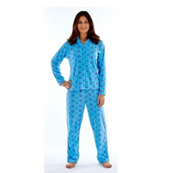 Selena Secrets Ladies Fleece Pyjama Set - Aqua