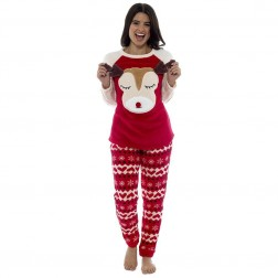 Foxbury Ladies Fleece 3D Reindeer Pyjama Set - Red/Multi