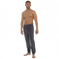 Tom Franks Mens Plain Marl Fleece Lounge Pants - Grey