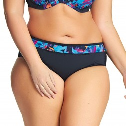 Elomi Abstract Mid Rise Bikini Brief - Black