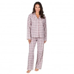 Forever Dreaming Flannel Check/Heart Pyjama Set - Cream