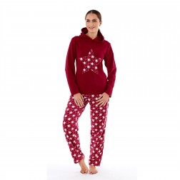 Selena Secrets Ladies Hooded Star Fleece Pyjama Set - Burgundy