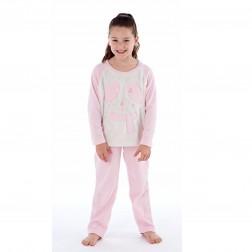 Selena Girl Bear With Scarf Fleece Pyjamas - Pink