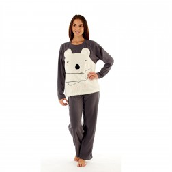 Selena Secrets Ladies Love Me Bear Fleece Pyjama Set - Charcoal