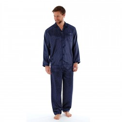 Harvey James Mens Satin Dash Pyjama Set - Navy