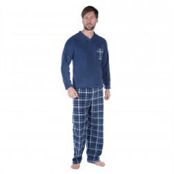 Harvey James Mens Reverse Check Fleece Pyjama Set - Navy