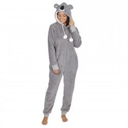 Onezee Ladies Fleece Koala Bear Onesie - Grey