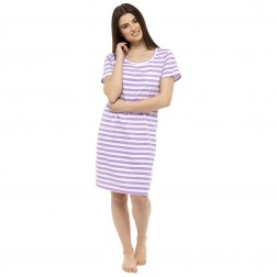 Ladies Short Sleeve Nightie - Purple Stripe
