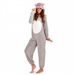 Loungeable Boutique Mouse Fleece Onesie - Grey