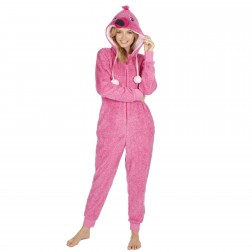 Onezee Ladies Snuggle Fleece Flamingo Onesie - Pink