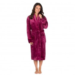 Forever Dreaming Shawl Collar Fleece Robe - Berry