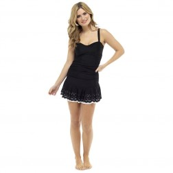 Ladies Tummy Control Swimdress - Black
