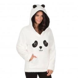 Forever Dreaming Panda Fleece Lounge Top - Cream