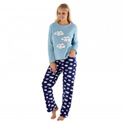 Selena Secrets Ladies Cloud Pyjama Set - Blue