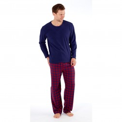 Harvey James Mens Fleece/Flannel Pyjamas - Navy/Wine