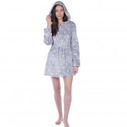 Masq Star Print Zip Up Hooded Robe - Grey
